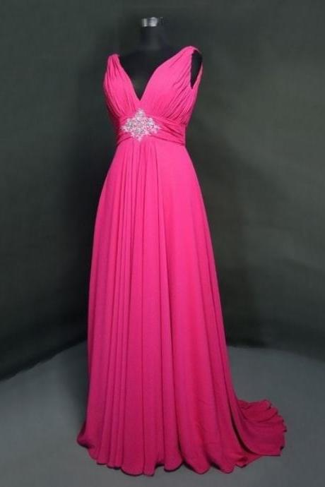 Hot Pink V Neck Chiffon A Line Prom Dresses With Ruched Bodice And Beaded Embellished Waist