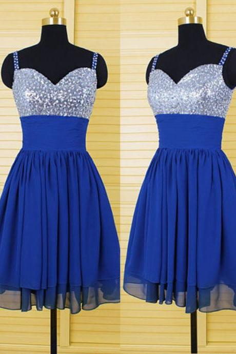 Royal Blue Spaghetti Straps Homecoming Dresses Crystal Embellished Chiffon Short Prom Dresses-Short Formal Gowns,Mini Dresses
