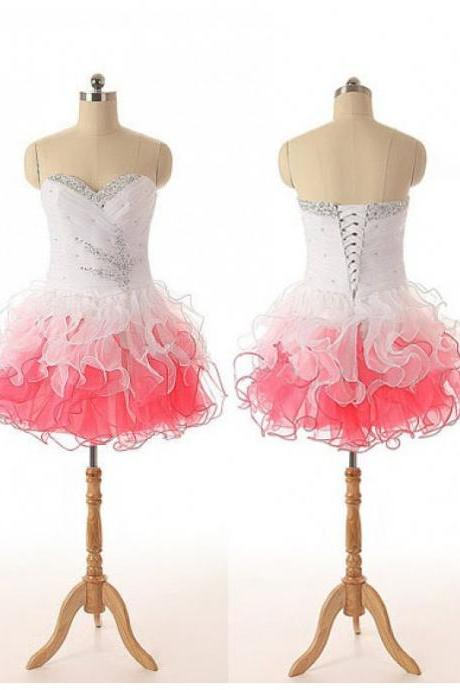 Sweetheart Colorful Homecoming Dresses Beaded Organza Short Prom Dresses With Ruffles - Short Formal Gowns,Mini Dresses