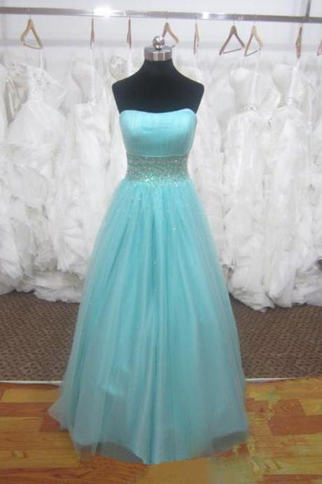 2016 Light Blue Strapless Prom Dresses Tulle Beaded Embellished Formal Gowns