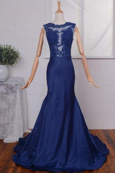 Navy Blue Mermaid Prom Gowns With Illusion Jewel Neckline, Floor Length Taffeta Lace Appliques Formal Dresses, Long Red Bridesmaid Dresses