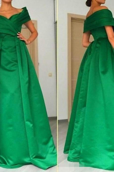 Long Elegant Green Off The Shoulder Prom Gowns, Floor Length V Neck Satin Formal Dresses, Long Green Bridesmaid Dresses