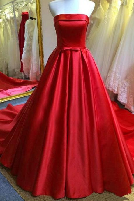 Red wedding dresses on luulla 2016 red satin wedding dresses with belt long strapless bridal dresses wedding gowns with chapel junglespirit Images