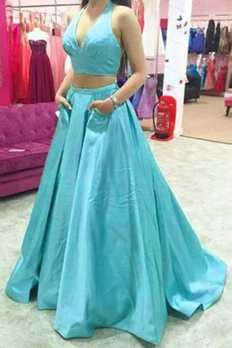 Two Piece Light Blue Prom Dresses, Floor Length Halter Neckline Satin Formal Dresses, Long Elegant Evening Gowns With Pocket