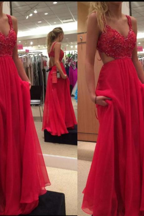 Sexy Spaghetti Straps Red Prom Dresses Long Elegant Chiffon Beaded Evening Gowns - Formal Dresses, Party Dress