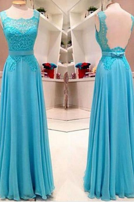 Long Blue Prom Dresses Backless Chiffon Evening Gowns, 2016 Long Bridesmaid Dresses,Floor Length Formal Dresses With Lace Bodice