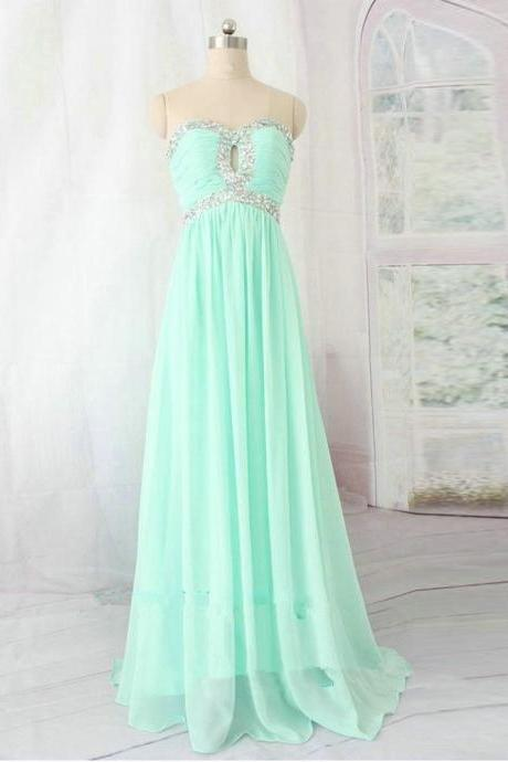 Mint Green Prom Dresses With Keyhole,Long Sweetheart Chiffon Evening Gowns, 2016 Long Bridesmaid Dresses,Floor Length BeadedFormal Dresses
