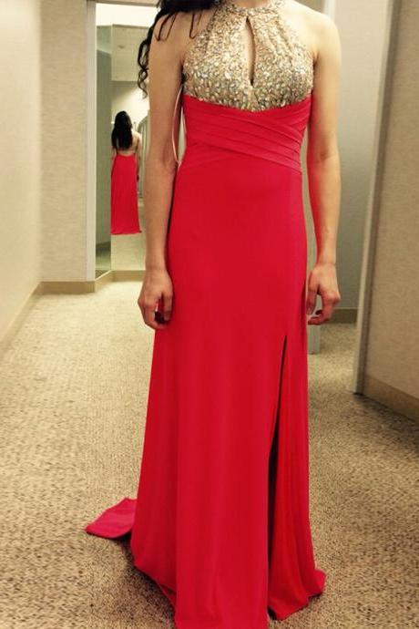 Red Halter Keyhole Prom Dresses With Side Split,Sexy Long Chiffon Rhinestones Embellished Formal Gowns, Party Dresses, Evening Dress 2017