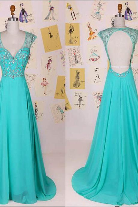 Sexy Turquoise Prom Dresses Chiffon Backless Stones Beaded Formal Gowns, Party Dresses, Evening Dresses 2017,Women Dresses,Party Dresses