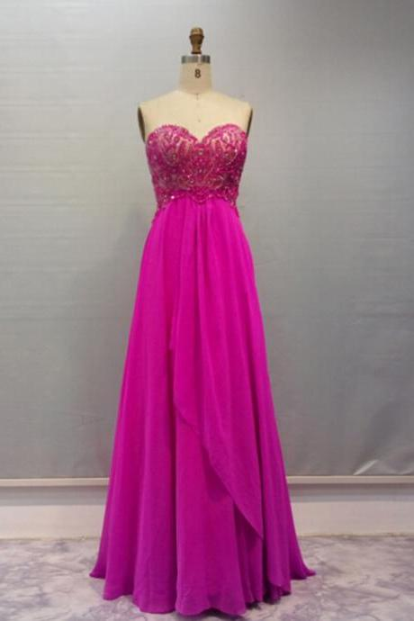 Vintage Fuschia Prom Gowns Long Sweetheart Chiffon Beaded Evening Dresses With Sweep Train