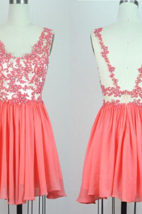 Coral Homecoming Dresses,Short Prom Dresses, Spaghetti Straps Homecoming Dresses,Chiffon Homecoming Dresses,Backless Homecoming Dresses,Sweety Homecoming Dresses
