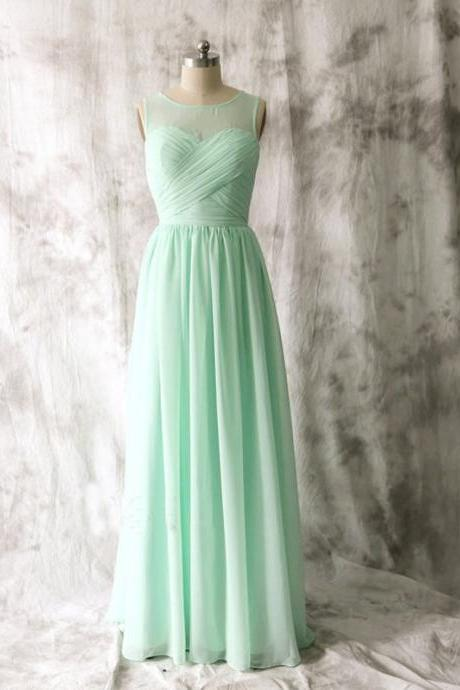Fashion Long Sheer Neck Mint Green Chiffon Bridesmaid Dresses, Floor Length Elegant Chiffon Prom Dresses, Wedding Party dresses,Formal Gowns