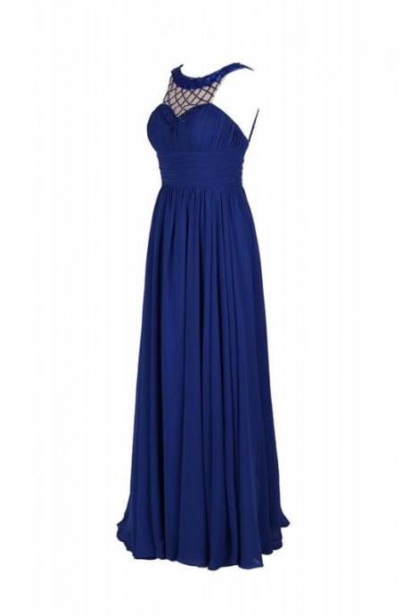 Pretty Royal Blue Sheer Neck Chiffon Bridesmaid Dresses, Charming Long Halter Beaded Chiffon Formal Dresses, Wedding Party dresses,Prom Gowns