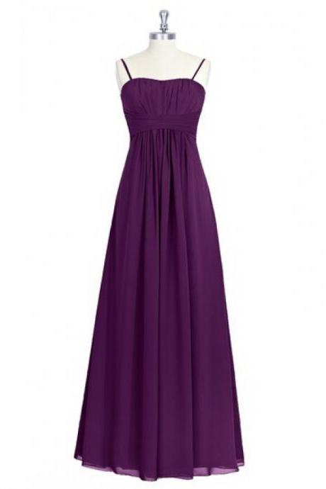 Long Grape Purple Spaghetti Straps Empire Chiffon Bridesmaid Dresses, Charming Long Ruched Chiffon Formal Dresses, Wedding Party dresses,Evening Gowns
