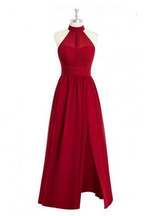 Stunning Halter Neckline Red Chiffon Bridesmaid Dresses,Elegant Long Ruched Formal Dresses, Wedding Party dresses, New Arrival Evening Gowns