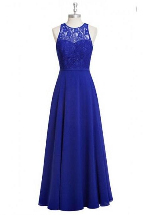 Stunning Sheer Neck Royal Blue Chiffon Bridesmaid Dresses,Elegant Long Lace Formal Dresses, Wedding Party dresses, New Arrival Evening Gowns