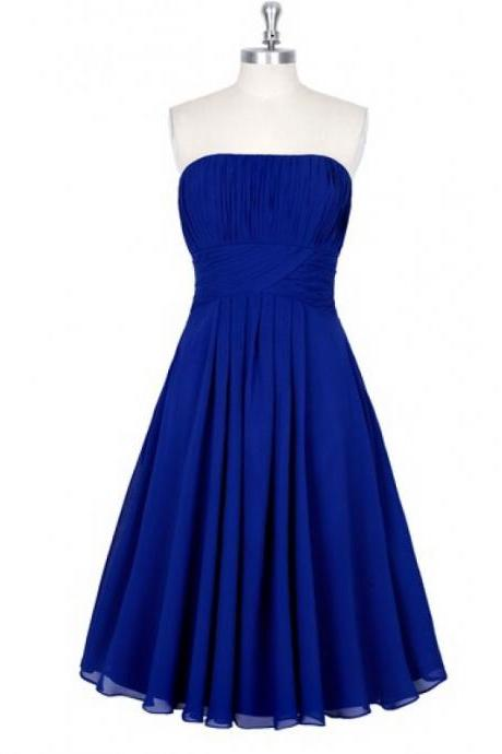 Royal Blue Chiffon Ruched Strapless Straight-Across Knee Length Ruffle A-Line Bridesmaid Dress, Formal Dress