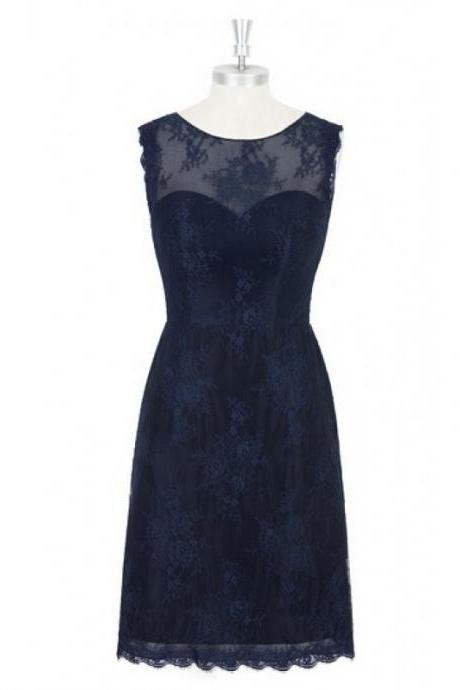 Charming Dark Navy Lace Short Bridesmaid Dresses, Short Lace Formal Dresses, Wedding Party dresses, New Arrival Formal Gowns