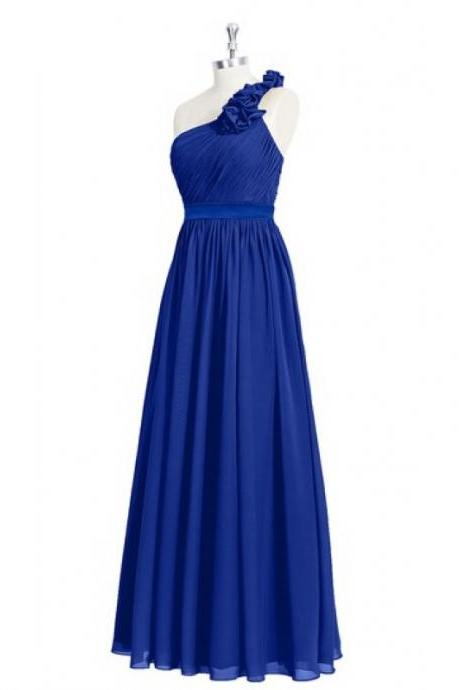 Floral One Shoulder Royal Blue Bridesmaid Dresses , 100% Top Quatity Long Chiffon Formal Dresses, Fashion Wedding Party Gowns