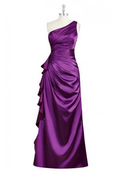 Junoesque Purple Satin Ruched Bridesmaid Dresses , One Shoulder Floor Length Wedding Party Gowns