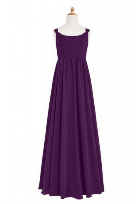 Fashion A Line Grape Purple Scoop Neck Empire Chiffon Bridesmaid Dresses