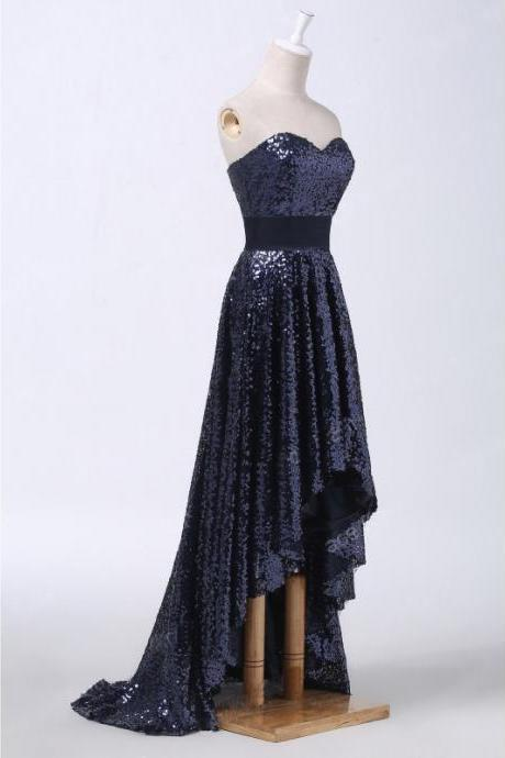 Navy Blue Sweetheart Sequined High-Low Prom Dress, Evening Dress, Party Dress