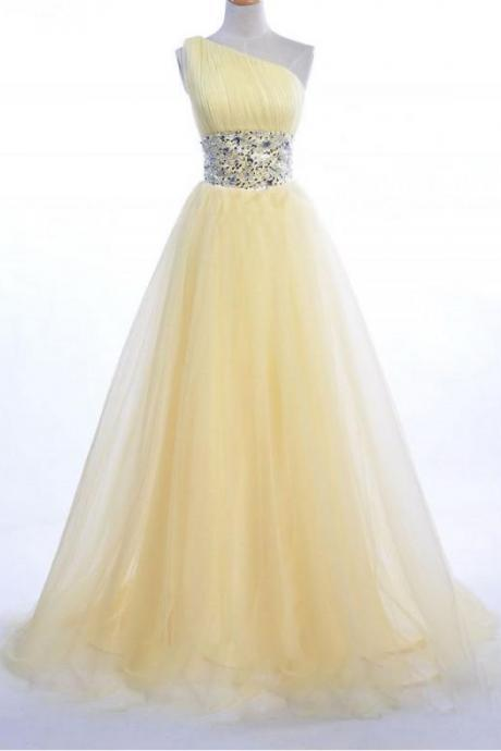 Yellow One-Shoulder Tulle Long Prom Dress with Jewel-Embellished Waistband and Court Train