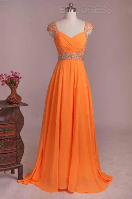 Stunning Cap Sleeve Prom Dresses Orange Sweetheart Beaded Formal Gowns With Court Train