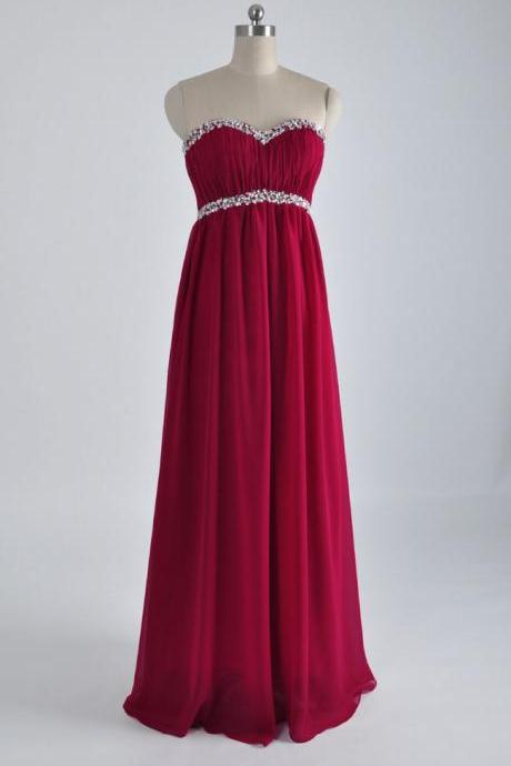 Sweetheart Ruched Chiffon Empire Waist Prom Dress, Evening Dress with Beaded Embellishment and Lace-Up Back