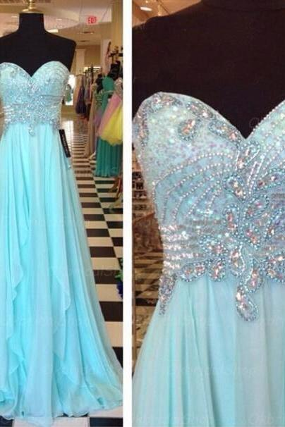 Sparkly Light Blue Sweetheart Prom Dresses Floor Length Beaded Rhinestones Embellished A Line Evening Party Gowns