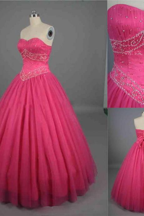 Hot Pink Ball Gown Prom Dresses Beaded Ruched Sweetheart Organza Formal Dresses