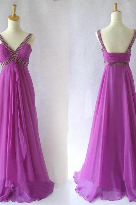 Long Elegant Purple Off The Shoulder Prom Gowns, Floor Length V Neck Chiffon Formal Dresses, Long Purple Bridesmaid Dresses