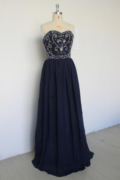 Exquisite Long Dark Navy Prom Gowns, Floor Length Sweetheart Chiffon Formal Dresses, Long Navy Blue Embroidery Bridesmaid Dresses