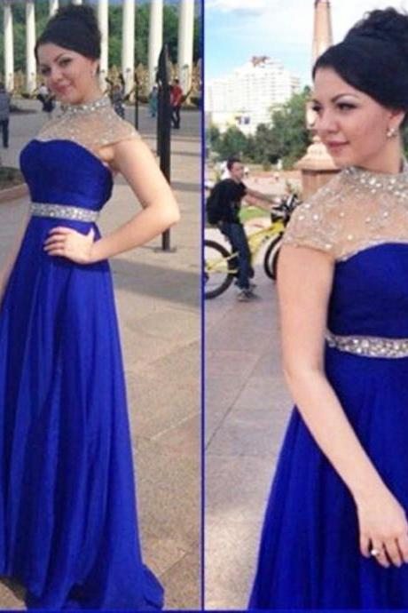 Charming Royal Blue Illusion Jewel Neckline Prom Gowns Cap Sleeve Chiffon Zipper Back Rhinestones Beaded Formal Dresses