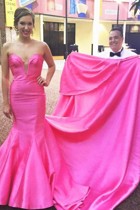 Hot Pink Deep V Neck Mermaid Prom Dresses Long Chapel Train Evening Party Gowns