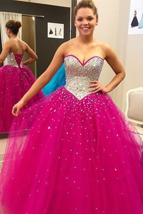 Sparkly Fuschia Prom Dresses Showcases Rhinestones Beaded Bodice,Long Sweetheart Tulle Evening Dresses, Fuschia Bridesmaid Dresses