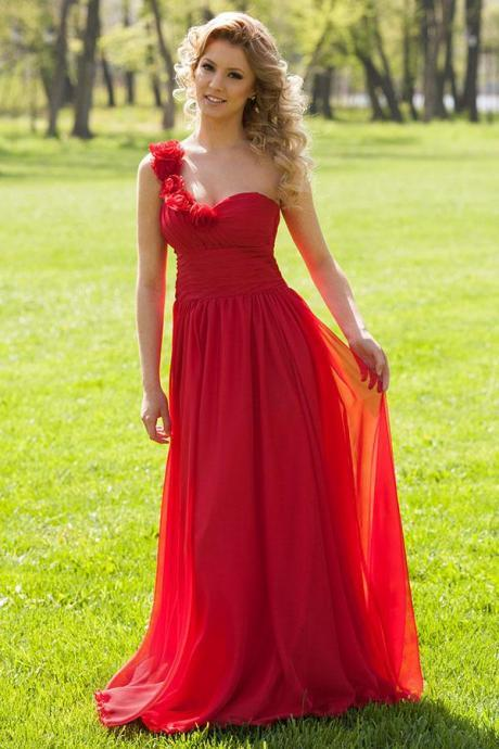 Elegant Red Prom Dresses Featuring Floral One Shoulder And Lace Up Back Chiffon Long Formal Evening Gowns