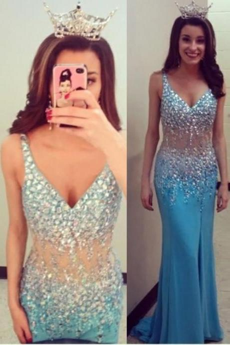 Blue Rhinestones Beaded Chiffon Trumpet Prom Dresses Showcases V Neckline And Illusion Waist - Formal Dresses,Party Dress