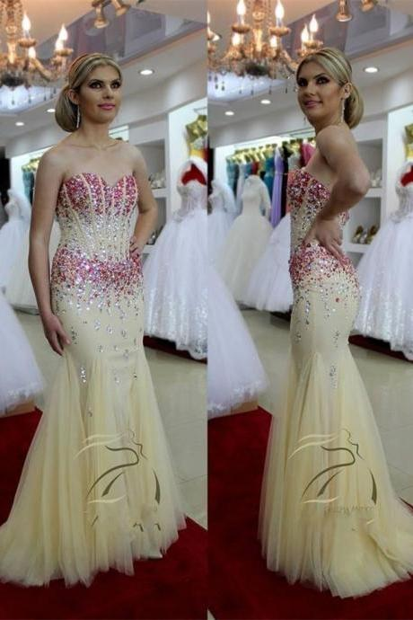 Yellow Rhinestones Beaded Tulle Beaded Mermaid Prom Dresses Showcases Sweetheart Neckline And Zipper Back - Formal Dresses,Party Dress