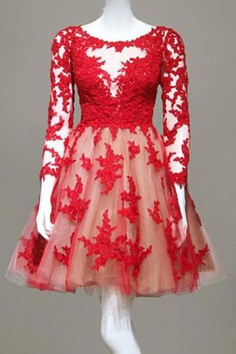 Red Lace Appliqués Tulle Short Prom Dresses Showcases Three Quarter Sleeves And Zipper Back - Formal Dresses,Party Dress