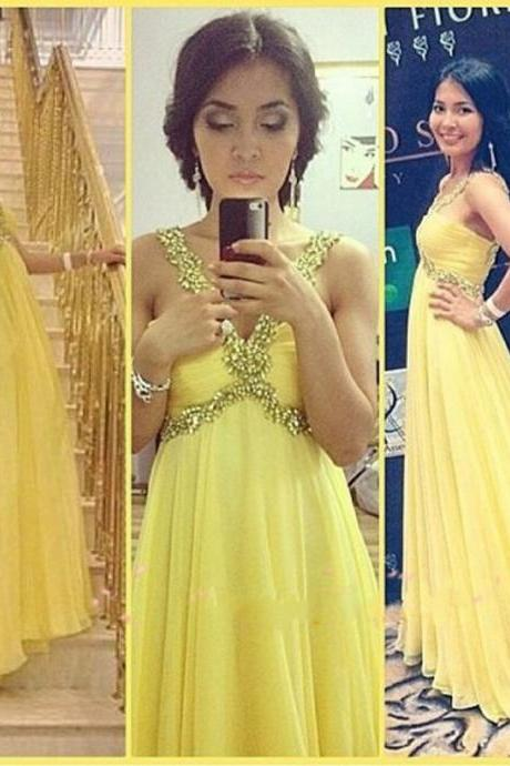 Elegant Beaded Empire Formal Dresses Yellow Chiffon Evening Party Gonws With Sweetheart Neckline