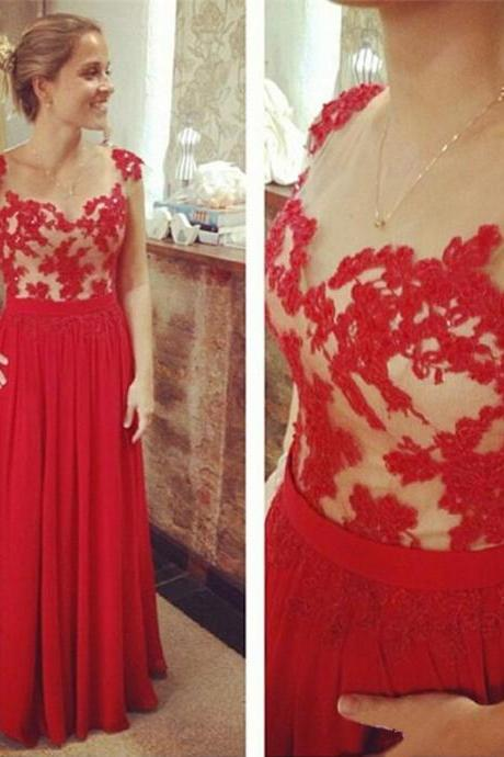 Red Lace Appliqué Cap Sleeve Chiffon A Line Prom Dresses Featuring Sheer Bateau Neckline and Zipper Back - Long Elegant Evening Formal Gowns
