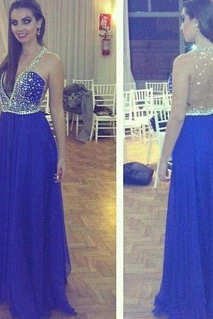 Sexy Long Royal Blue Backless Prom Dresses Chiffon Plunge V Neckline Beaded Evening Gowns