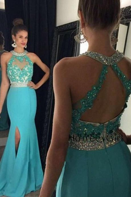 Sexy Long Lace Appliques Light Blue Chiffon Mermaid Prom Dresses Featuring Sheer Halter Neckline And Side Split Backless Evening Gowns