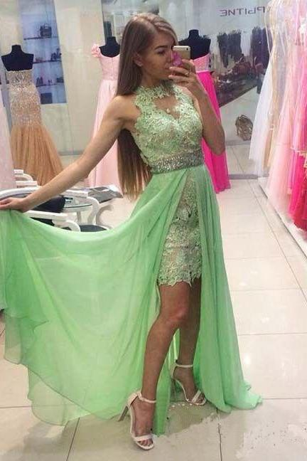 Elegant Long Lace Appliques Sage Green Chiffon Prom Dresses Featuring Sheer Halter Neckline And Beaded Belt Evening Formal Gowns