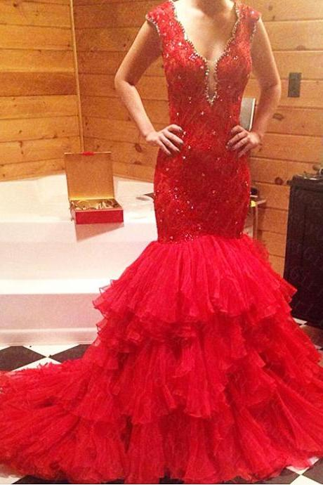 Sexy Red Organza Backless Mermaid Prom Dresses Featuring Tiered Skirt And Plunge V Neckline Long Elegant Party Formal Gowns