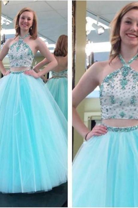 Sexy Light Blue Tulle Two Piece Prom Dresses Featuring Rhinestones Embellished Bodice With Halter Neck Long Elegant Party Formal Gowns