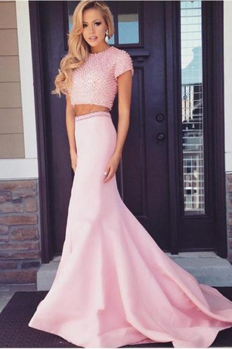 Pink Beaded Satin Two Piece Prom Dresses Featuring Scoop Neckline And Short Sleeve Long Elegant Chapel Train Formal Gowns