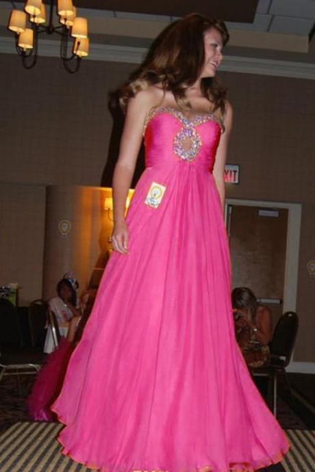 Charming Pink Chiffon Prom Dresses Featuring Beaded Keyhole And Sweetheart Neckline Long Elegant Formal Gowns