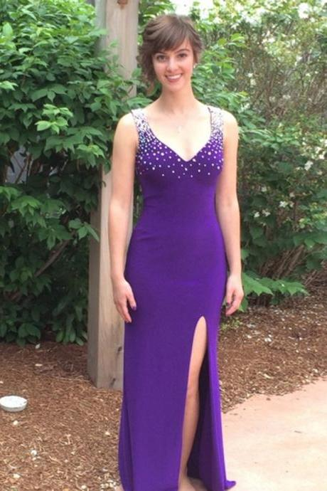 Charming Floor Length Purple Chiffon Prom Dresses Featuring Beaded Sheer Back And Side Split Sexy Long Elegant Formal Gowns